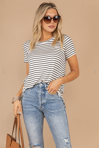 such a go to black and ivory white striped top