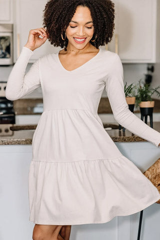 From Now On Oat White Tiered Dress