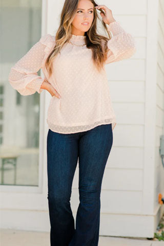 you will win blush pink swiss dot top