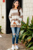 chunky striped wide sleeve sweater