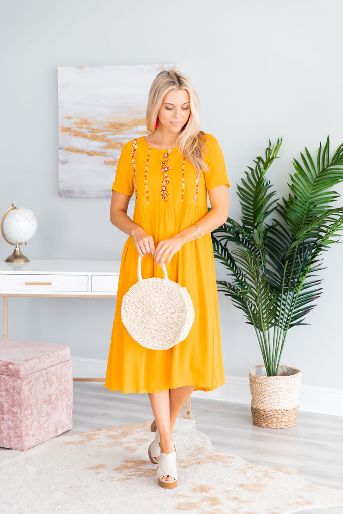 Dealing With It Midi Dress, Marigold