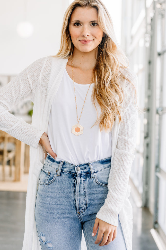 Well Aware White Duster Cardigan