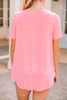 Out and About Bright Pink Short Sleeve Henley Top