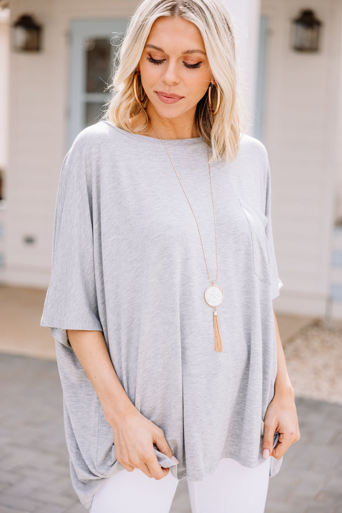 On Your Time Heather Gray Oversized Top