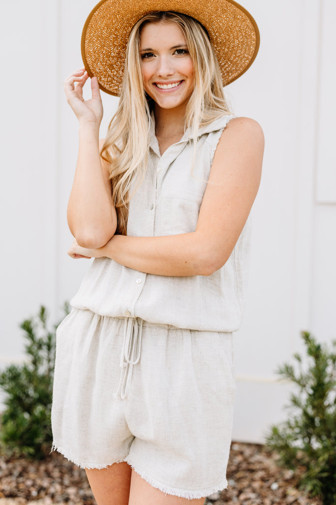 Walk With Me Linen Oatmeal White Romper