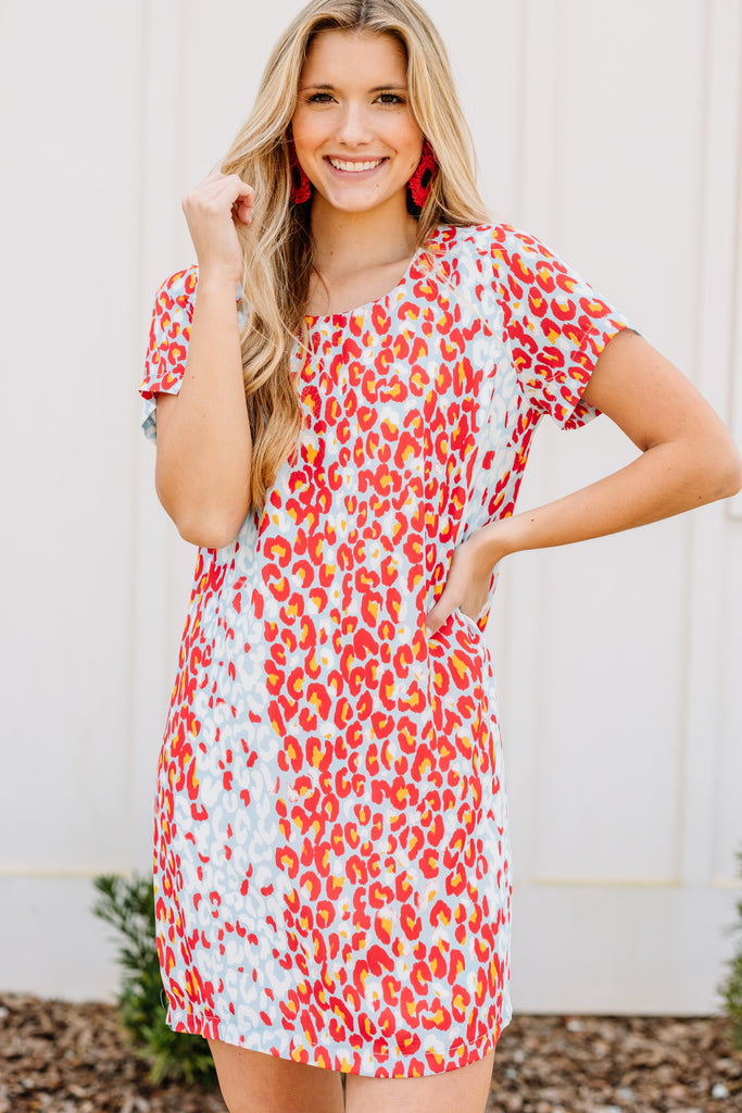 Clearly Bold Coral Pink Leopard Shift Dress