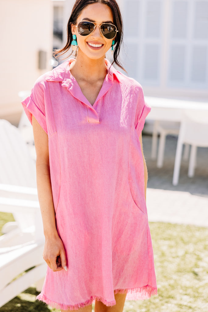 Just My Type Hot Pink Chambray Dress