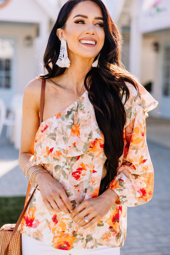 ruffled one shoulder blouse