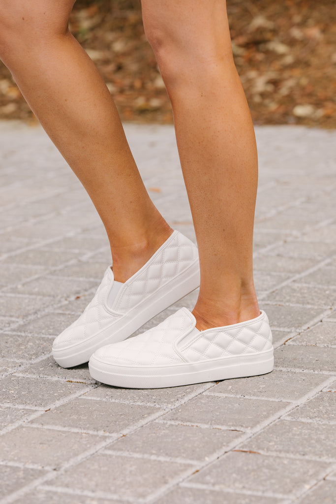 Crushin' White Quilted Sneakers