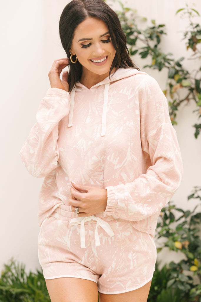 Ready To Relax Blush Pink Palm Print Hoodie