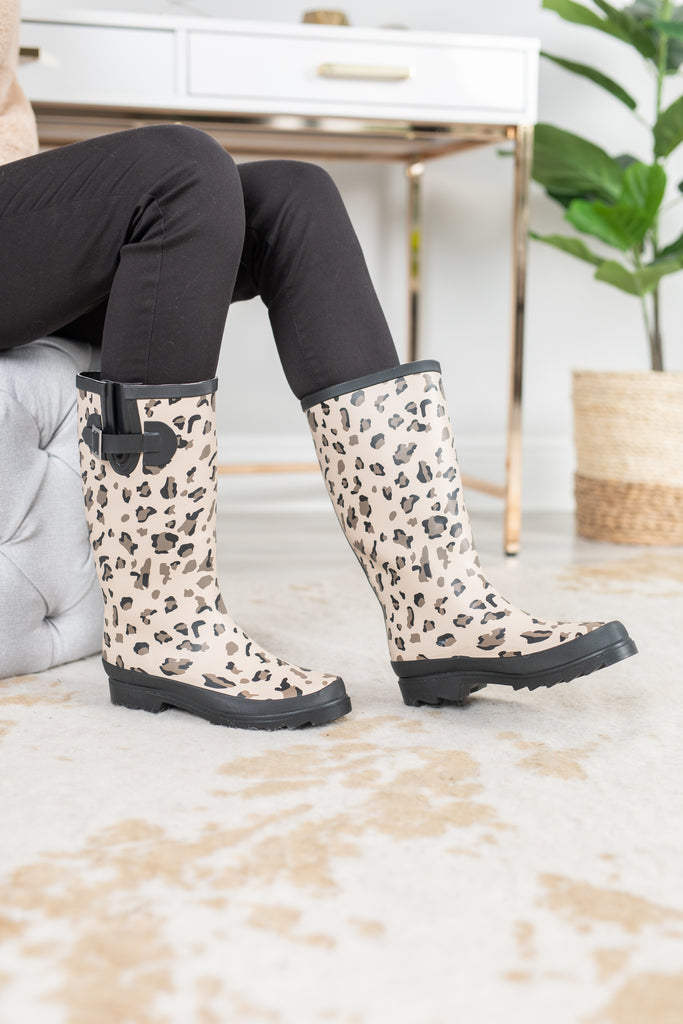 sassy rain boots, rain, weather, leopard print, boots, fall, winter, spring, summer, black, tan, brown, buckle