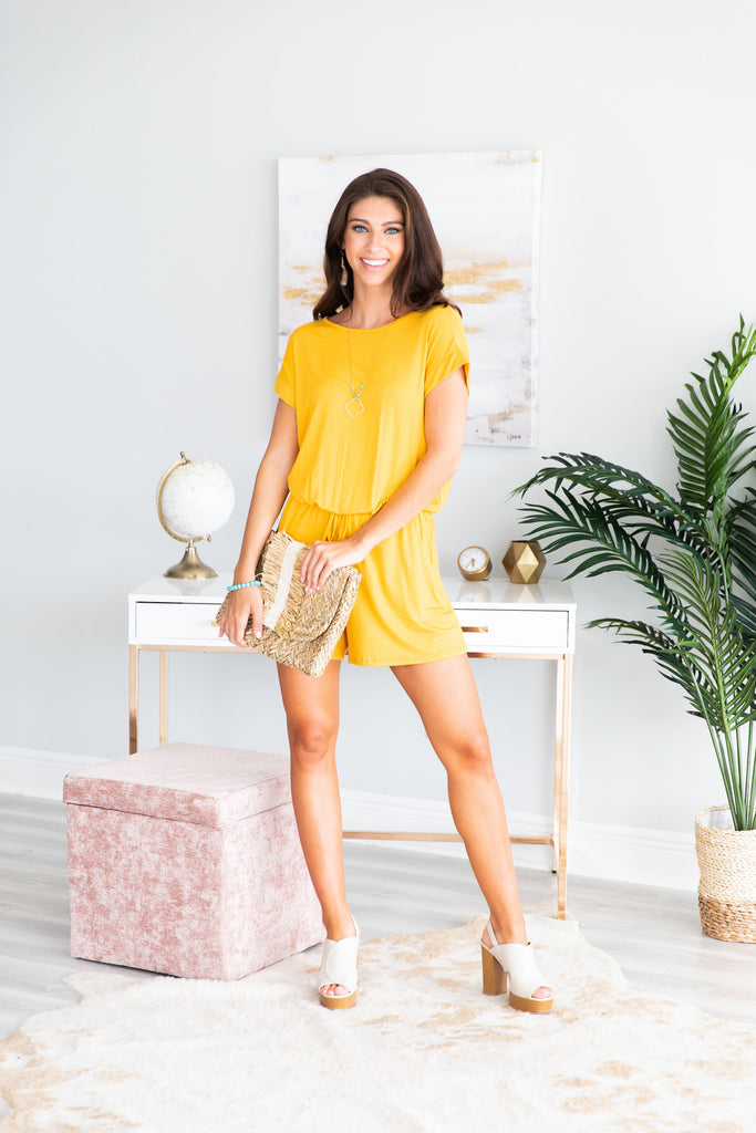 Do Anything For You Romper, Yellow