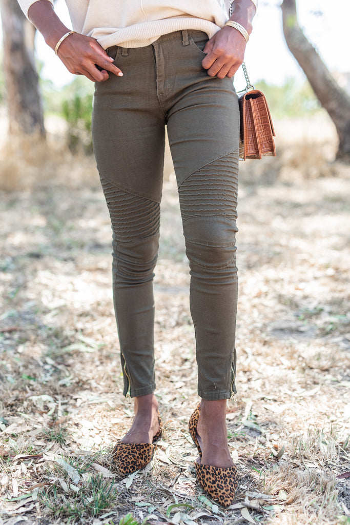 Living For The Day Olive Moto Zip Jeans