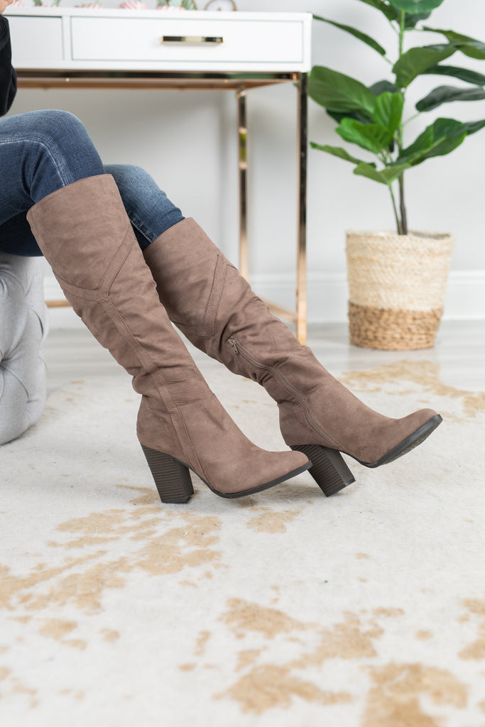 boots, taupe boots, over the knee boots, chic, faux suede fabric, brown