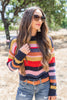 top, sweater, striped sweater, loose knit striped sweater, blue multicolored striped loose knit sweater, lightweight sweater, breathable sweater, navy blue multicolored striped loose knit sweater, fall top, winter top, bright sweater, bright striped sweater,