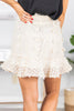 fall, skirt, fall skirt, ruffled hemline, pompom details, textured trim, zip closure, faux wrap fit, no stretch, white, white skirt