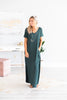 dress, maxi dress, solid, solid maxi dress, v-neck, v-neck maxi dress, slit details, summer, summer maxi dress, fall, fall maxi dress, trendy, comfy, casual, casual maxi dress, shopping, everyday, green, green maxi dress, hunter green, hunter green dress
