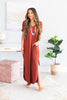 dress, maxi dress, solid, solid maxi dress, v-neck, v-neck maxi dress, slit details, summer, summer maxi dress, fall, fall maxi dress, trendy, comfy, casual, casual maxi dress, shopping, everyday, orange, orange maxi dress