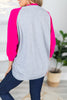 Slouchy Dolman Fuchsia/Heather Gray Raglan Tunic