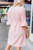 Dreaming Of The Day Blush Pink Peplum Sleeve Dress
