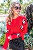 sweater, top, long sleeve sweater, distressed sweater, red sweater, star print, star, red star sweater, red distressed sweater, fall distressed sweater, star print sweater