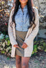 brown, cable knit trim, pockets, classic, cardigan, solid coloring