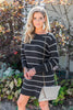 Answer The Call Black Striped Sweater Dress