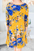 dress, floral, floral dress, yellow, yellow dress with floral details, long sleeve, long sleeve dress, casual, casual dress, fall, fall dress, summer, summer dress