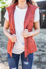 vest, trendy vest, utility vest, fall vest, winter vest, vest with pockets, cinched waist vest, button vest, button font closure vest, vest with hood, orange vest, rust orange vest