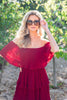 dress, off shoulder neck dress, tiered design dress, flowy dress, midi length dress, holiday dress, party dress, pleated fabric dress, red dress
