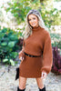 long sleeve sweater dress, long sleeve turtle neck sweater dress, brown sweater dress, brown turtle neck sweater dress, casual dress, dress with bubble sleeves,