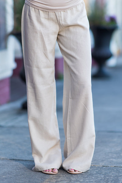 Fold Over Linen Pants, Taupe