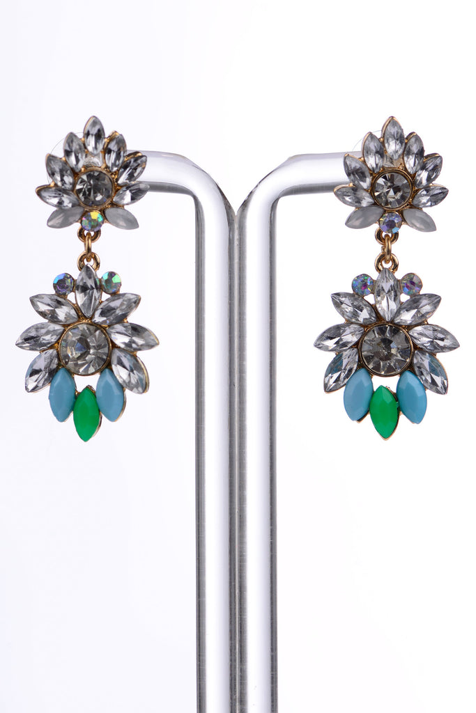 Crystal Flowers Earrings, Green