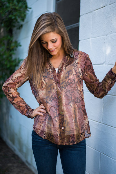 Reptilian Rhinestone Blouse, Brown