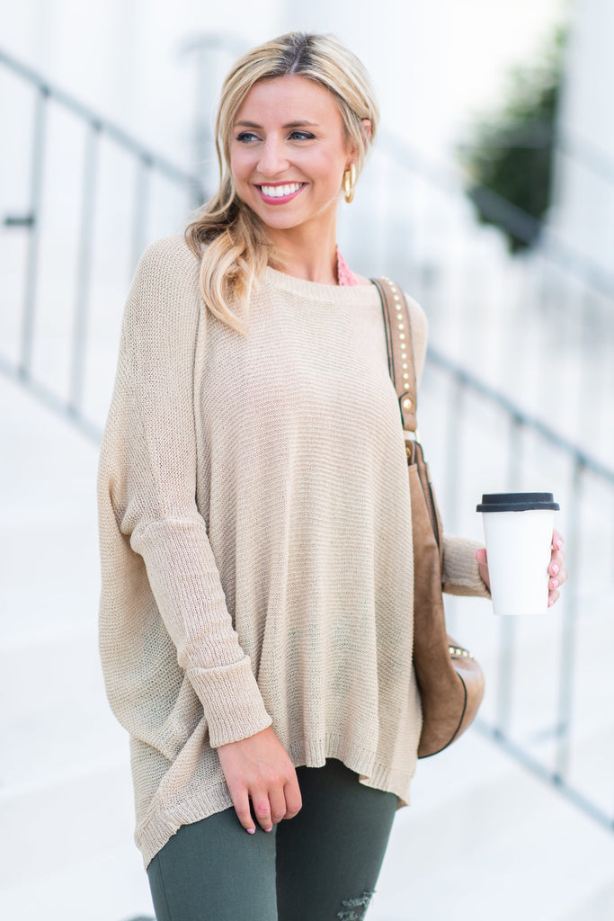 Just Breathe Sweater, Beige