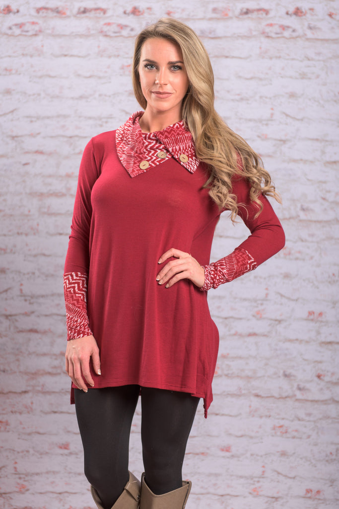 Live For The Moment Tunic, Burgundy