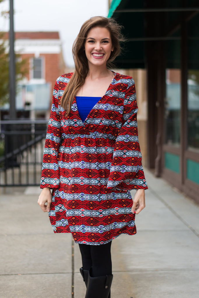 Cross Over Aztec Dress, Red
