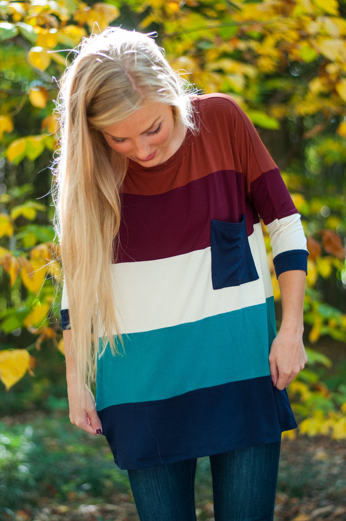 Striped Colorblock Top, Jade- Rust