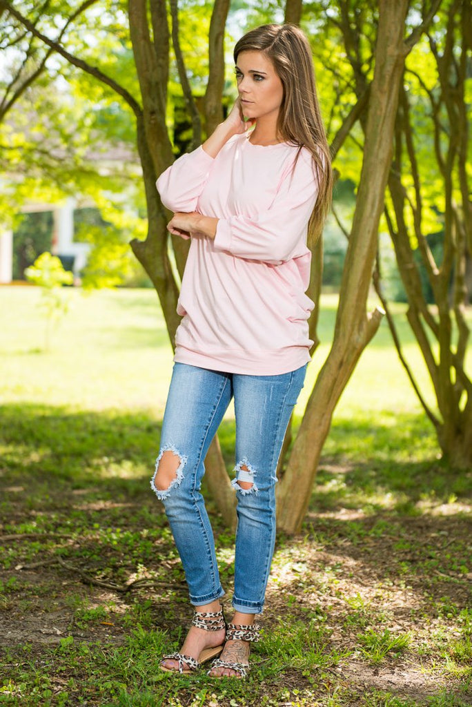 Slouchy Dolman Cotton Candy Pink Tunic