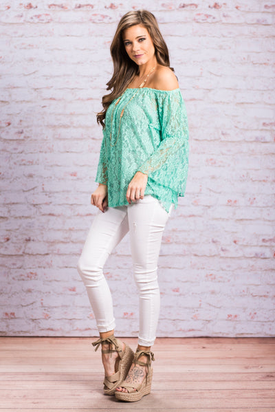 Draped In Flowers Blouse, Mint