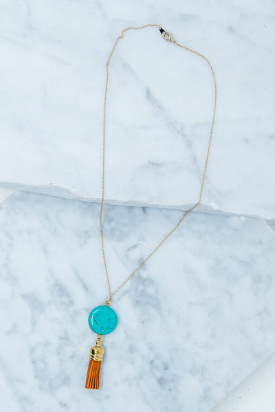 Watch The Bead Drop Necklace, Turquoise-Tan