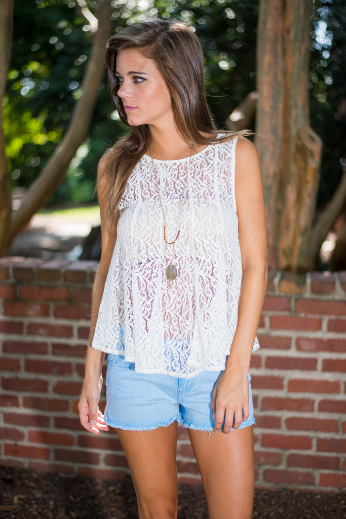 Lace and Grace Tank, Ivory