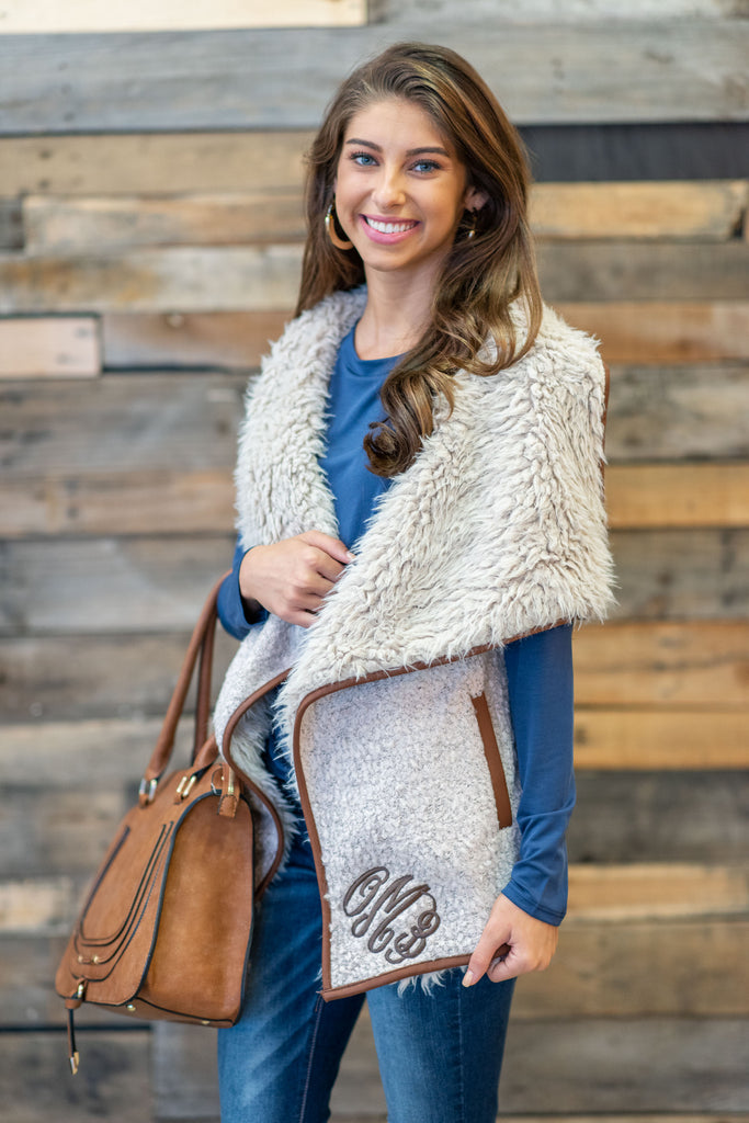 So Fur-real Vest, Beige