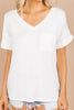 ivory top, pocket tee, white pocket tee, v neck, v-neckline, casual top, everyday top, basic, plain white tee