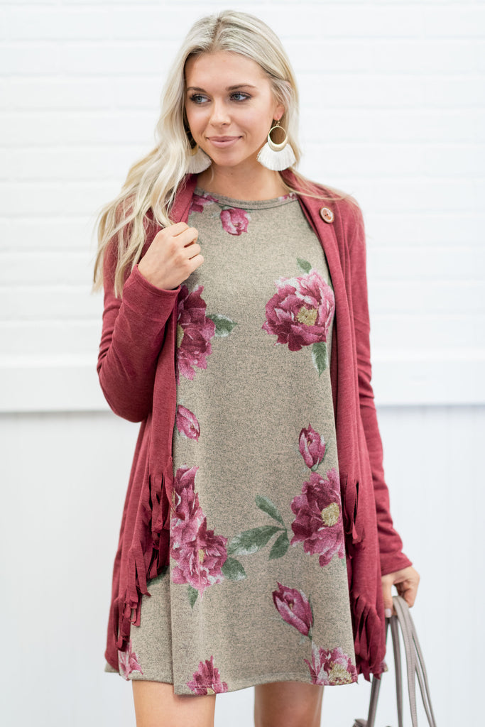 We Can Be Fringe Cardigan, Burgundy