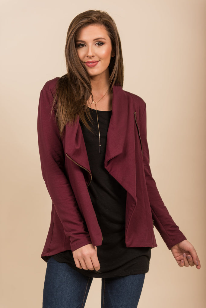 fall jacket, wine jacket, solid jacket, casual jacket, purple zipper jacket with pockets, jacket with lapel