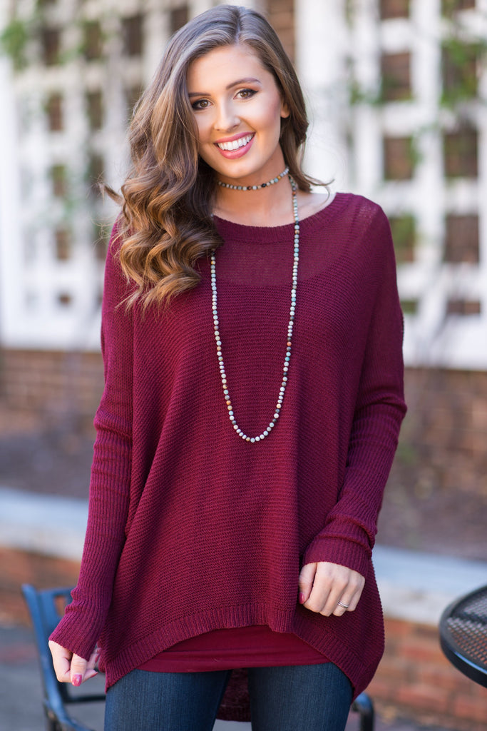 Just Breathe Sweater, Burgundy