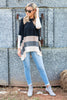 tops, colorblock, long sleeve, fall, fall tops, fall clothing, winter clothing, stripes, striped tops, black, pink, gray, flowy tops, knit