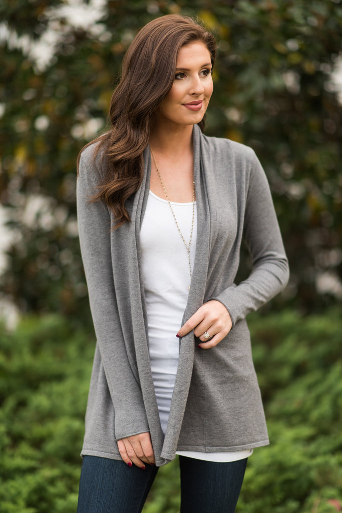 Float On Love Charcoal Gray Cardigan