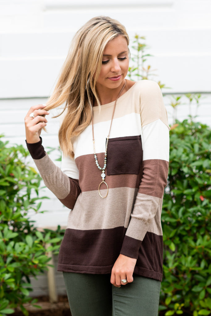 Color Block Pocket Sweater, Chocolate -Ivory